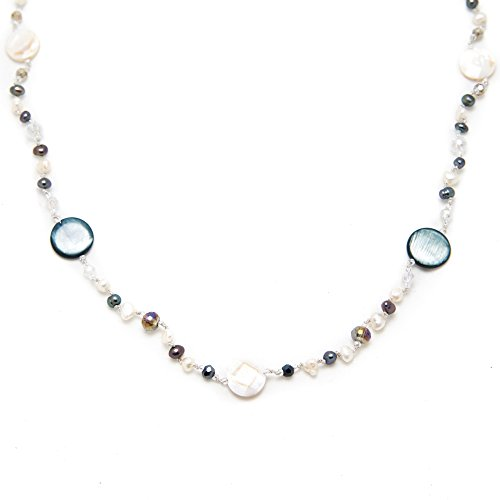 White & Peacock Black Mother of Pearl Cultured Freshwater Pearl Crystal Beads Long Necklace (Natural Mother Of Pearl Necklace)