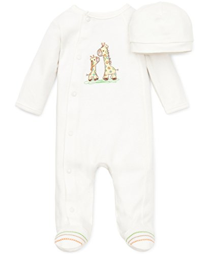 Little Me Unisex Baby 2 Piece Footie and Cap, Giraffe, Ivory, 3 Months