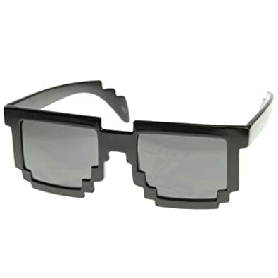 zeroUV - Pixelated 8-Bit Black Sunglasses CPU Gamer Geek Novelty Glasses (Shiny Black)