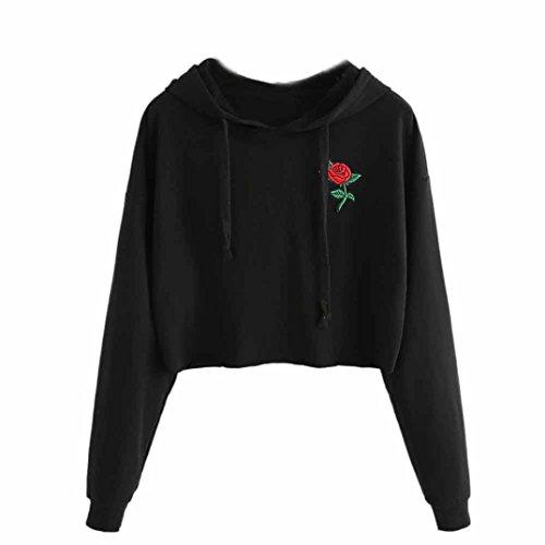 Hoodie Top Jeans (Women Hooded Pullover, Heyl Rose Embroidery Classic Black Hoodies Crop Top (M, Black))