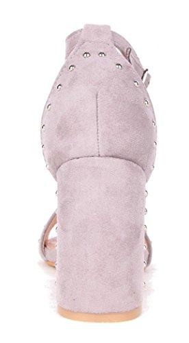 Clouté Habillées Ouvert Carré Bout Faux L70 Suède Gris Sandales Femmes Talon Dames Chaussures Shu Haut Pour Fou AqP6z6
