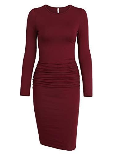Missufe Women's Ruched Casual Sundress Midi Bodycon Sheath Dress (Small, Long Sleeve Burgundy)