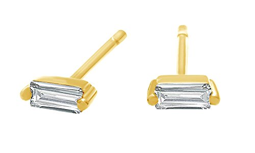 Stud Gold Over Silver (Baguette Cut Cubic Zirconia Dainty Stud Earring In 14K Yellow Gold Over Sterling Silver)