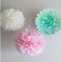 Since ® 12PCS 3 Colors Mixed Mint White Pink Tissue Paper Pompoms Flower Pom Poms Wedding Birthday Party Decoration SIC-01719
