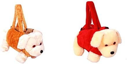 Anika Soft Toys Children Doggy Style Mini Purse (Red & Brown)