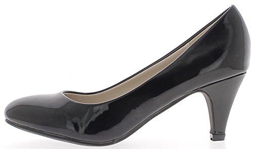 ChaussMoi Bombas Clásicas Negro barnizadas con Pequeños Zapatos de Tacón 6,5 cm
