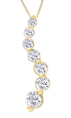 Diamond Prong Journey Pendant - Jewel Zone US White Natural Diamond Journey Pendant Necklace Women's Necklace in 14K Solid Yellow Gold (1 Ct)