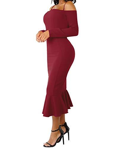 Spalla Manicotto Di Solido Rosso Partito Lungo Club Da Cxins Midi Bodycon Del Volant Vino Vestito Sexy Femminile Sera Elegante Freddo 4qw6FI0x
