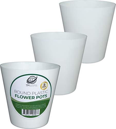 Set of 3 Round Plastic Flower Pots - White -