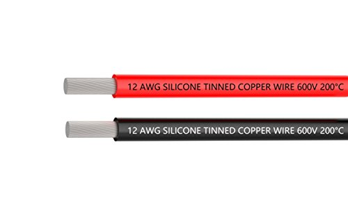 12 Awg Copper Wire (TUOFENG 12 Gauge Silicone Wire 20 Feet red black wire - 12 AWG Silicone Wire - Flexible Silicone Wire Works Well for RC car, drone, helicopter and airplane battery and engine wire)