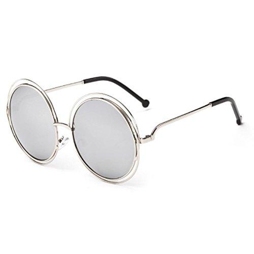 SnikFish Fashion Women Color Film Sunglasses Round Frame Sun Glasses (silver)