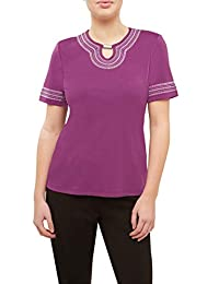 Plus Embroidered Notch Neck Tunic Top RichViolet 3X