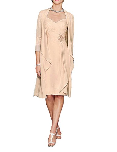 H.S.D Ladies Column Short Lace&Chiffon Mother of The Bride Dress with Bolero Champagne