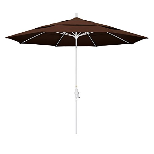 Bay Brown Rib - California Umbrella 11' Round Aluminum Pole Fiberglass Rib Market Umbrella, Crank Lift, Collar Tilt, White Pole, Sunbrella Bay Brown