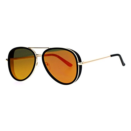 SA106 mirrored Mirror Side Visor Vintage Style Flat Lens Aviator Sunglasses Gold - Racer Sunglasses Cafe