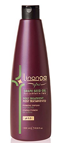 Linange Spa - Post Treatment Grape Seed Oil Shampoo (1000ml); Moisturizing, Nourishing, Hair Care Product; Hair Shampoo for Men and Women – Great for Colored, Straightened, Medium, Treated Hair