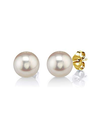 THE PEARL SOURCE 14K Gold 7-8mm AAAA Quality Round White Freshwater Cultured Pearl Stud Earrings for Women
