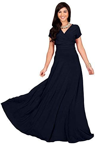 KOH KOH Petite Womens Long Cap Short Sleeve V-neck Flowy Cocktail Slimming Summer Sexy Casual Formal Sun Sundress Work Cute Gown Gowns Maxi Dress Dresses, Navy Blue XS 2-4 -