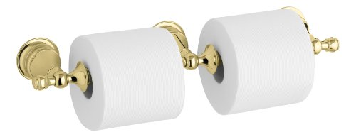 KOHLER K-16152-PB Revival Double Toilet Tissue Holder, Vibrant Polished Brass by Kohler