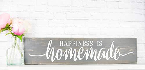 Grey Happiness Is Homemade - Rustic Handmade Farmhouse Wood Wall Decor]()