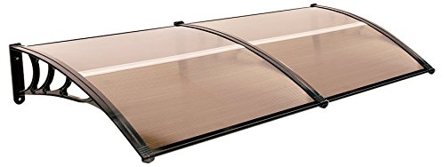 "Exacme Mcombo 40""X80"" Window Awning Outdoor Polycarbonate Front Door Patio Cover Garden Canopy 6055-4080 Brown"