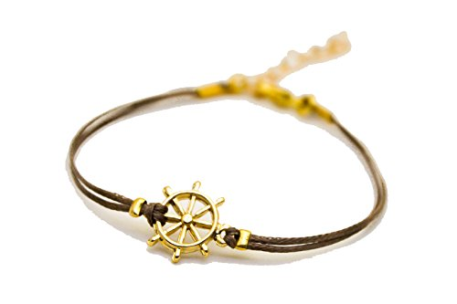 Brown 14k Bracelet Charm (Ship wheel Bracelet, cord bracelet 14k gold plated helm charm, brown string, nautical jewelry, sailor, sea, summer jewelry, beach)