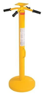 Vestil SJ-35 Steel Rounded Base Economy Trailer Stabilizing Jack with Powder Coat Safety Yellow Finish, 50000 lbs Capacity