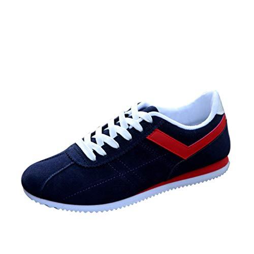 CieKen Men Casual Shoes, Men's Running Shoes Fashion Lace-up Low Ankle Flat Heel Sport Shoes (Blue, US:9) by CieKen