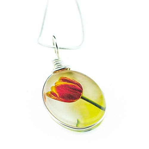 "(Flower Necklace, Handmade Glass Tulip Pendant on 18"" Sterling Silver Chain, Jewelry for)"