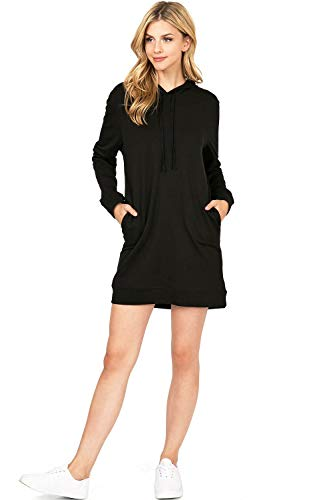 Ambiance Apparel Women's Casual Hooded Athleisure Dress (L, Black)