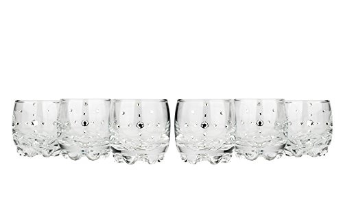 - Le Monde Cadeaux 440502MULTI, 2 Oz Swarovski Jeweled Vodka Shot Glasses, Classic Wedding Gift Heavy-Base Liqueur Shots Inlaid with Crystals, 6-Piece Set
