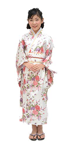 Tikusan Japanese Traditional Dress Kimono Yukata Robe for Kids Girls Costume (8-9 Years, White)