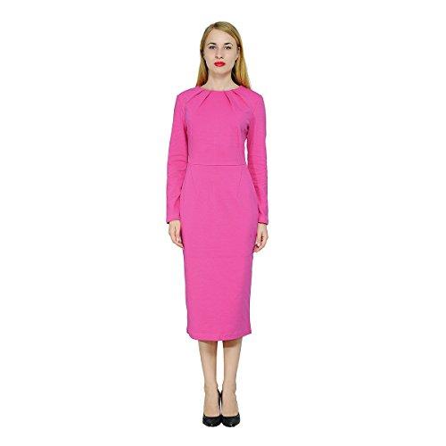 long sleeve hot pink dresses - 3
