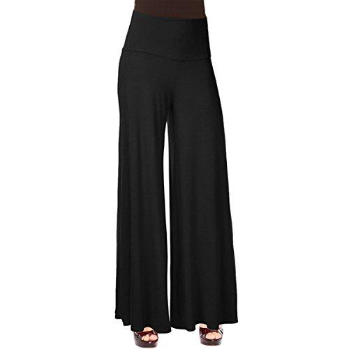E.JAN1ST Women's Chic Palazzo Lounge Pant Wide Leg Dance Palazzo Gaucho Pants, Black, tagsizeXXXL=USsize14 (Black Gaucho Pants compare prices)