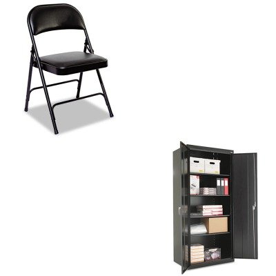 KITALECM7824BKALEFC96B - Value Kit - Best Assembled 78amp;quot; High Storage Cabinet (ALECM7824BK) and Best Steel Folding Chair With Padded Back/Seat (ALEFC96B) by Best