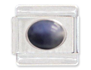 (Blue Oval Italian Charm Bracelet Link)