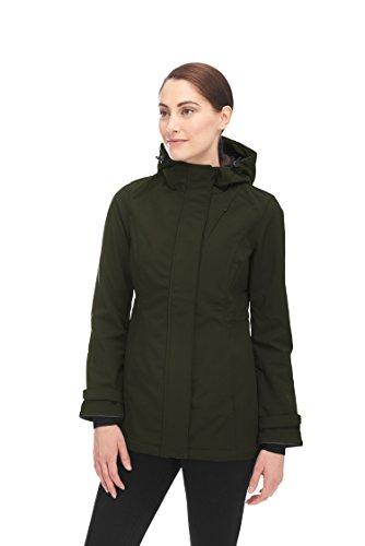 Alpine North Women's Lightweight Soft-Shell Coat Fleece Lined Warm Hooded Jacket Olive