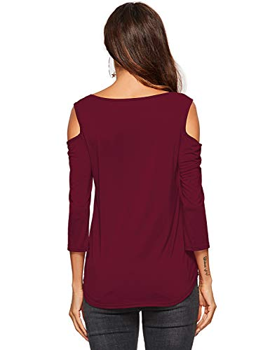 V T Hors Amoretu Manche Bourgogne Casual shirt col Chemisier Épaule Femmes Tops Longue UwpYqxp8C