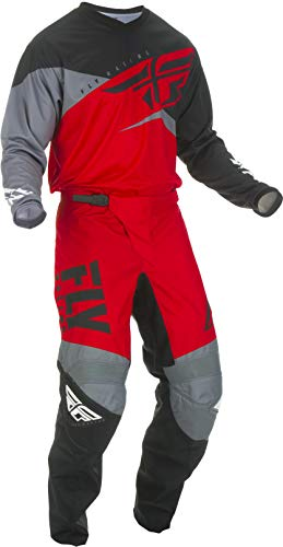 Fly Racing - 2019 F-16 (Mens RED & Black & Grey Large/32W) MX Riding Gear Combo Set, Motocross Off-Road Dirt Bike Light Weight Durable Jersey & Mesh Comfort Liner Stretch Pre Shaped Knees Pant ()