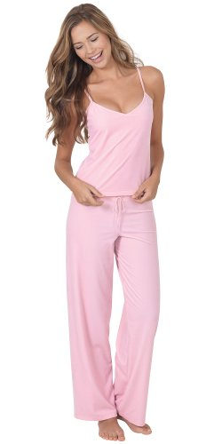 PajamaGram Women's Pink Velour Lounge Set with Tank Top and Pants, Medium / 8-10, Pink