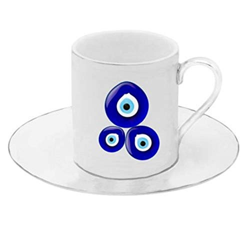 (Porcelain China Espresso Turkish Coffee Demitasse Set of 6 Cups + Saucers (Evil Eye))