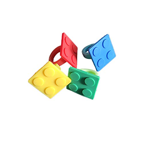 Building Block Brick Party Favor Rings, Goodie Bag fillers for Birthday, Classroom Prizes, 32pcs]()