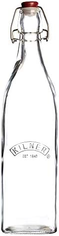 Kilner Square Clip Top Bottle, Airtight Seal for Preserving and Storing Liquids, Reusable and Dishwasher Safe, 34-Fluid Ounces