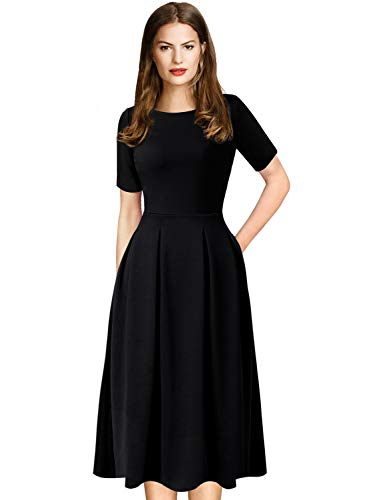 High Length Neck - VFSHOW Womens Pleated Pockets Work Business Casual Skater A-Line 2272 BLK M