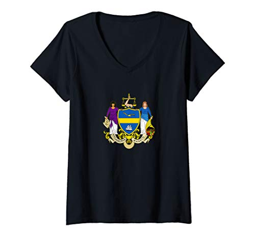 (Womens Philadelphia City Flag TShirt Philly Seal Flags Women Men V-Neck T-Shirt)