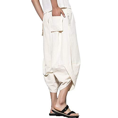 Bloomers Harem Unita Uomo Size Mode Bianca 3xl Marca Pantaloni Di Due Bolawoo color Da Tinta Con Tasche Benda Casual 4qtw5n