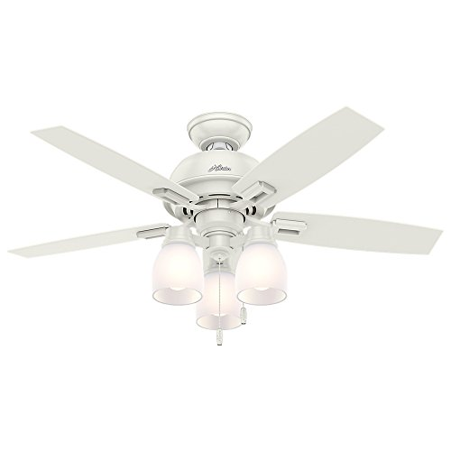 Hunter 52229 Casual Donegan Three Light Fresh White Ceiling Fan With Light, 44