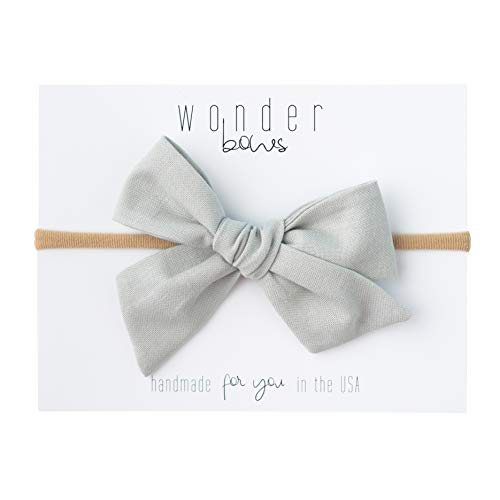 Handmade Cotton Hair Bows For Baby Girls and Toddlers (One Size Fits All) (Grey, Nylon) ()