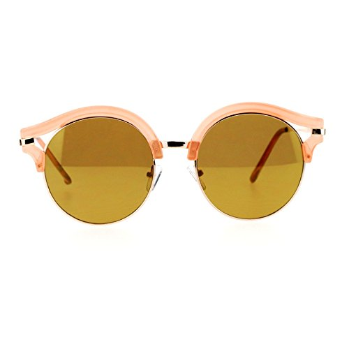 SA106 Retro mirrored Lens Round Circle Half Rim Womens Sunglasses - Sunglasses For Circle Guys
