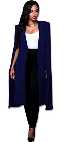 Sexy Cloak Poncho Cape Style Fendue Fente Open Devant Manches Longues Longue Boutonne Boutonnless Veste De Tailleur Blazer Jacket Veste Blouson Duster Trench Coat Manteau Haut Top Bleu
